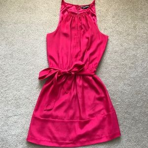 Hot pink keyhole neck silk dress with tie belt
